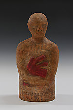 Holding Heart in Brown by Beth Ozarow (Ceramic Sculpture)