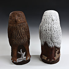 Pair of Owls by Beth Ozarow (Ceramic Sculpture)