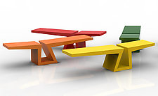 Bruno the Bench In Bright Colors by Isaac Arms (Metal Bench)