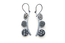 Gray Pebble Dangles by David Forlano and Steve Ford (Polymer Clay & Silver Earrings)