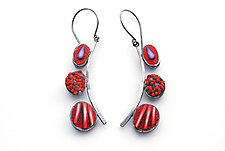 Red Pebble Dangles by Steven Ford and David Forlano (Polymer Clay & Silver Earrings)