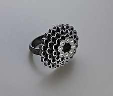Oval Stacked Ring with Diamonds by Elisa Bongfeldt (Silver & Stone Ring)