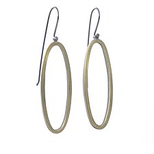 Long Open Oval Earrings by Elisa Bongfeldt (Gold & Silver Earrings)