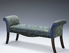Scroll Bench in Larkspur by Mary Lynn O'Shea (Upholstered Bench)