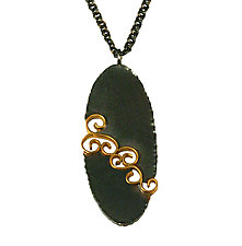 Oval Wrought Inlay Pendant by Natasha Wozniak (Gold & Silver Pendant)