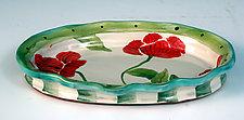 Small Oval Poppy Tray by Peggy Crago (Ceramic Tray)