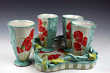 Poppy Tumblers on Vine Tray by Peggy Crago (Ceramic Drinkware)
