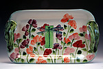 Sweetpea and Dragonfly Tray by Peggy Crago (Ceramic Tray)