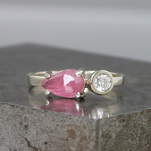 Two Stone Gold Ring with Pink Sapphire and Moissanite