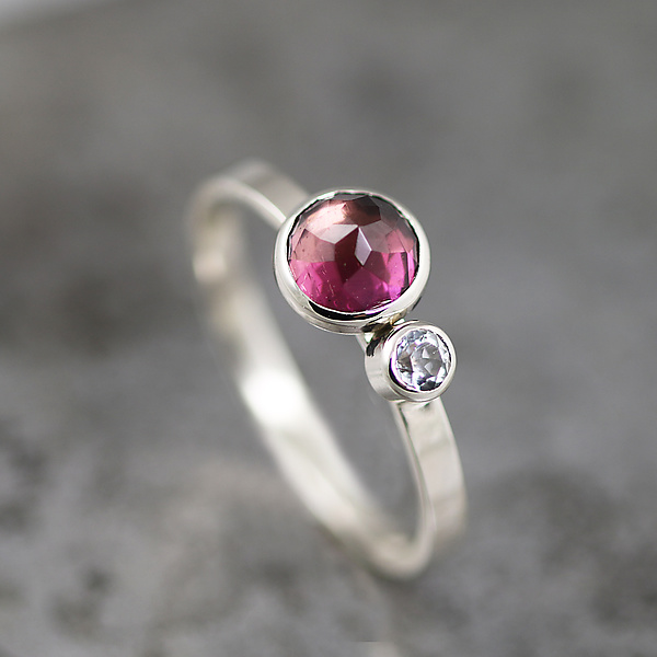 White Gold Ring with Purple Tourmaline and Topaz