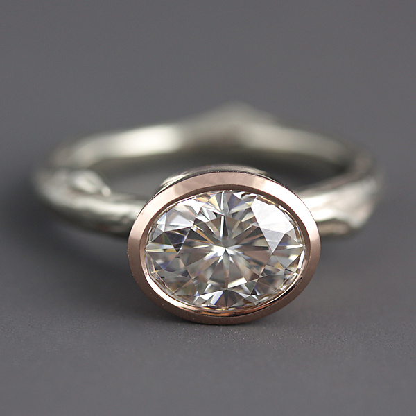 Mixed Gold Moissanite Twig Ring