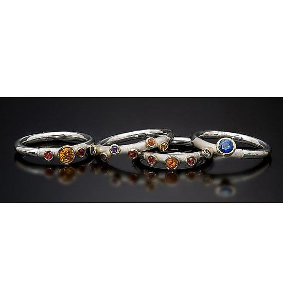 Rainbow Sapphire Stackable Rings