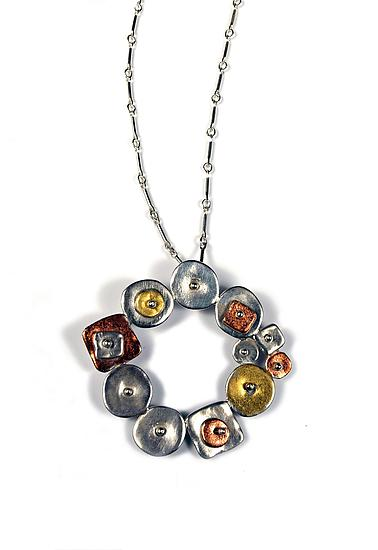 Collaged Geometric Circular Necklace