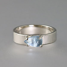Hammered White Gold Ring with Aquamarine by Sarah Hood (Gold & Stone Ring)