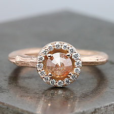Rose Gold Twig Ring with Diamond Halo by Sarah Hood (Gold & Stone Ring)