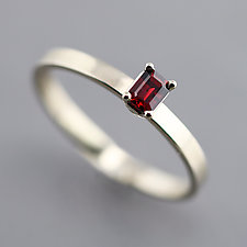 Slim White Gold Ring with Red Sapphire Size 6.5 by Sarah Hood (Gold & Stone Ring)