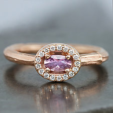Rose Gold Twig Ring with Oval Pink Sapphire by Sarah Hood (Gold & Stone Ring)