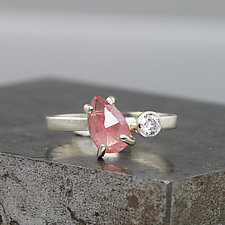 White Gold Two-Stone Ring with Pink Sapphire and Moissanite by Sarah Hood (Gold & Stone Ring)