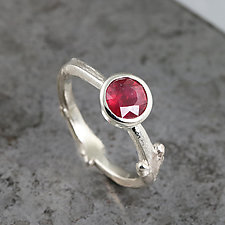 White Gold Twig Ring with Ruby by Sarah Hood (Gold & Stone Ring)