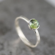 White Gold Ring with Green Sapphire by Sarah Hood (Gold & Stone Ring)