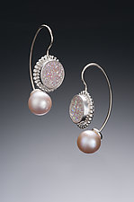 Jemloch Earring with Druzy by Samantha Freeman (Silver, Stone & Pearl Earrings)
