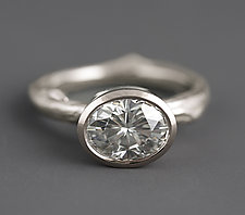 White Gold Twig Moissanite Ring by Sarah Hood (Gold & Stone Ring)
