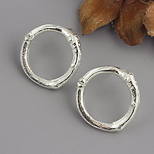 Twig Circle Post Earrings by Sarah Hood (Silver Earrings)