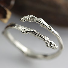 White Gold Twig Bypass Ring by Sarah Hood (Gold Ring)