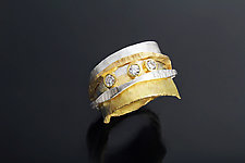 Slim Ran Ring with 3 Diamonds by Sana  Doumet (Gold, Silver & Stone Ring)