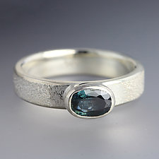 Hammered Silver Ring with Blue Sapphire - Size 5.25 by Sarah Hood (Silver & Stone Ring)