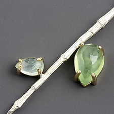 Twig Necklace With Prehnite and Gold by Sarah Hood (Gold, Silver & Stone Necklace)