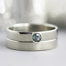 White Gold Montana Sapphire Wedding Set Size 6 by Sarah Hood (Gold & Stone Wedding Bands)