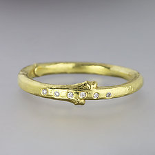 Yellow Gold Twig Band with Diamonds - Size 8 by Sarah Hood (Gold & Stone Ring)