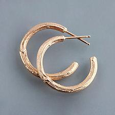 Rose Gold Twig Hoop Earrings by Sarah Hood (Gold Earrings)