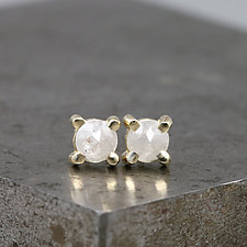 4mm Rose Cut White Diamond Stud Earrings by Sarah Hood (Gold & Stone Earrings)