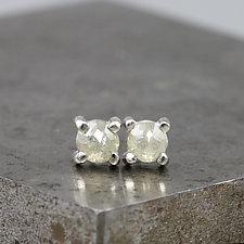 4mm Rose Cut Light Green Diamond Stud Earrings by Sarah Hood (Gold, Silver, & Stone Earrings)