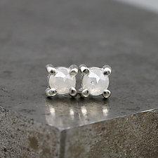 4mm Rose Cut White Diamond Stud Earrings by Sarah Hood (Gold & Stone Earrings)