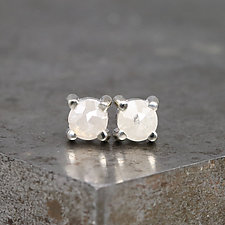3.5mm Rose Cut White Diamond Stud Earrings by Sarah Hood (Gold & Stone Earrings)