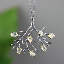 Blackened Sterling Silver Tree Necklace with Prehnite by Sarah Hood (Gold, Silver & Stone Necklace)