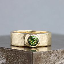 Yellow Gold Band Ring with Tourmaline by Sarah Hood (Gold & Stone Ring)