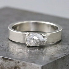 White Gold Ring with Rose-Cut Pear Gray Diamond by Sarah Hood (Gold & Stone Ring)