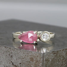 Two Stone Gold Ring with Pink Sapphire and Moissanite by Sarah Hood (Gold & Stone Ring)