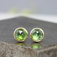 Rose-Cut Green Tourmaline Stud Earrings by Sarah Hood (Gold & Stone Earrings)