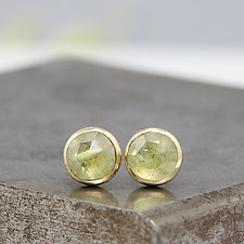 Rose-Cut Green Sapphire Stud Earrings by Sarah Hood (Gold & Stone Earrings)