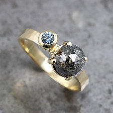 Two-Stone Ring with Rose-Cut Diamond and Sapphire by Sarah Hood (Gold & Stone Ring)