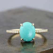 14K Yellow Gold Ring with Turquoise and Moissanite Pave by Sarah Hood (Gold & Stone Ring)