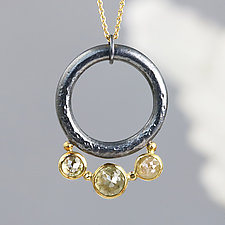 Blackened Sterling Silver Pendant with Rose-Cut Diamonds by Sarah Hood (Gold, Silver & Stone Necklace)