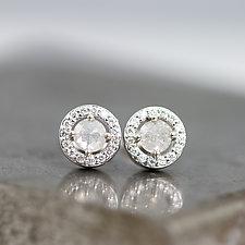 Rose-Cut Diamond Halo Earrings by Sarah Hood (Gold & Stone Earrings)