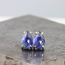 Rose-Cut Blue Sapphire Stud Earrings by Sarah Hood (Gold & Stone Earrings)