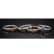 Rainbow Sapphire Stackable Rings by Stephen Dixon (Silver & Sapphire Ring)